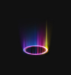 magic shining portal with rainbow light effect vector image