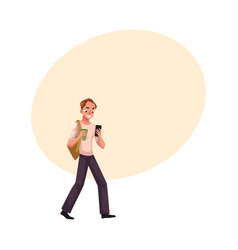 man with backpack using smartphone mobile phone vector image
