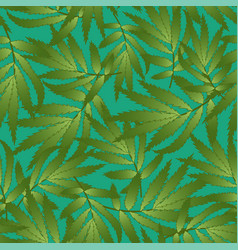 Marigold leaves - tagetes on green background vector