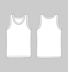 Men vest underwear white tank top in front and vector