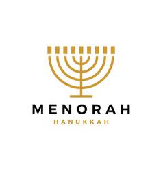 menorah hanukkah judaism jews candle logo icon vector image
