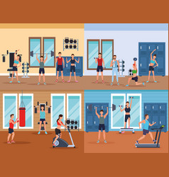 mens fitness doing exercise vector image
