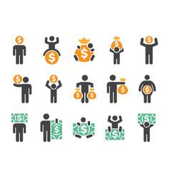 money man icon set vector image