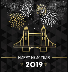 new year 2019 london uk tower bridge travel gold vector image
