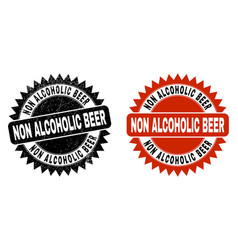 Non alcoholic beer black rosette stamp with grunge vector