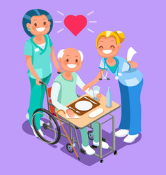 Nurses group of doctors team isometric people vector