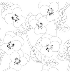 pansy flower on seamless background outline vector image