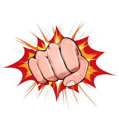 power fist on blasting background vector image