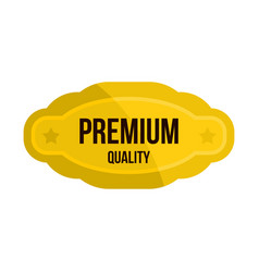 Premium quality golden label icon flat style vector