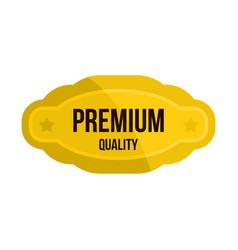 Premium quality golden label icon flat style vector