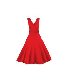 Red elegant dress vector