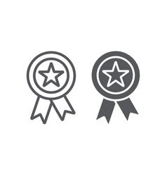 Reward line and glyph icon badge and medal award vector