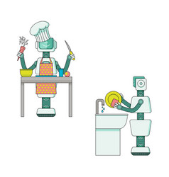 robot doing housework collection - android vector image