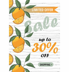 sale flyer template with orange vector image
