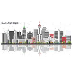 San antonio texas city skyline with gray vector