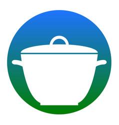 saucepan simple sign white icon in bluish vector image