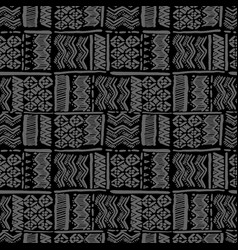 Seamless hand-drawn ethnic grey on black vector