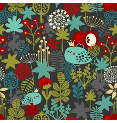 Seamless pattern with fantastic flora and fish vector