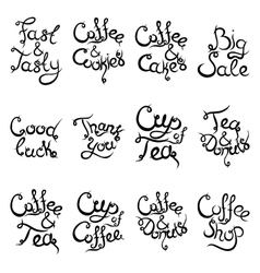Set 2 of curly lettering Phrases for Coffee Shop vector
