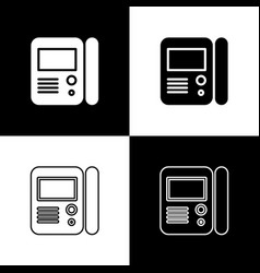 Set house intercom system icon isolated on black vector