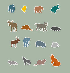set of colored animal silhouettes vector image
