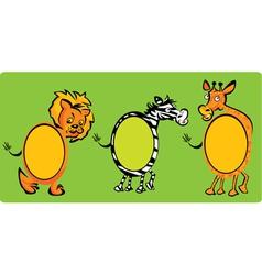 Set of oval frames - animals -lion zebra giraff vector