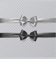 set of realistic black and wight ribbon and vector image vector image