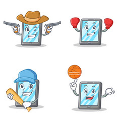 set of tablet character with cowboy boxing vector image
