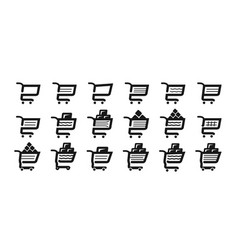 Shopping cart set icons supermarket grocery vector