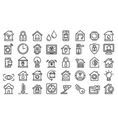 Smart home icons set outline style vector