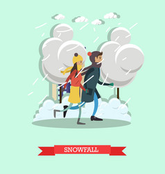 Snowfall concept in flat style vector