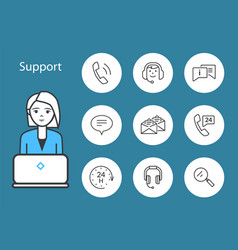 support service woman and laptop icons set vector image