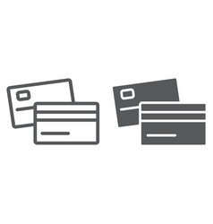 swipe credit card line and glyph icon bank vector image