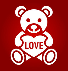 teddy bear with heart glyph icon valentines day vector image