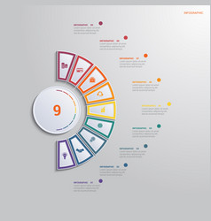 Template for infographics with 9 text area vector