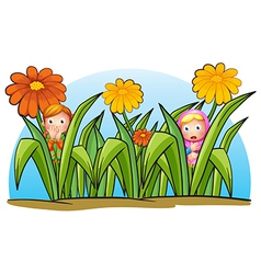 Two little girls hiding vector