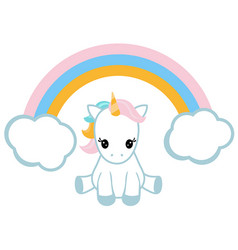 Unicorn and a rainbow unicorn and a rainbow vector