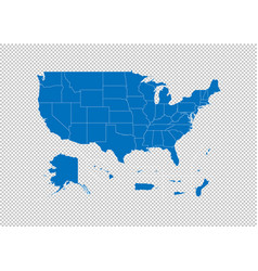 Usa territories map - high detailed blue map vector