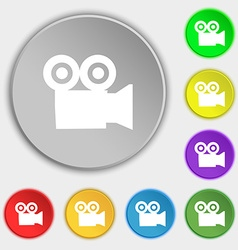video camera icon sign Symbol on five flat buttons vector image