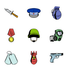 Wartime icons set cartoon style vector