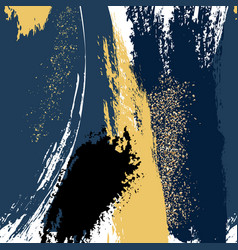 Watercolor brush strokes with navy gold grunge vector
