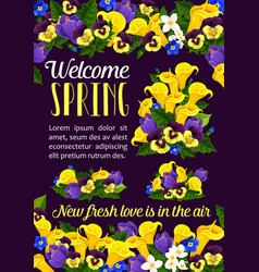 Welcome spring season greeting banner with flower vector