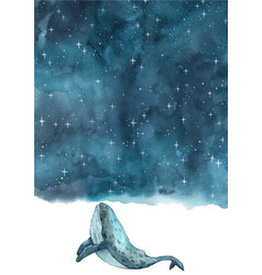 Whale swimming under night sky watercolor vector