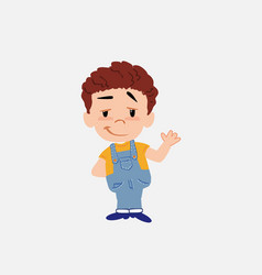 white boy in jeans waving with a dreamy expression vector image