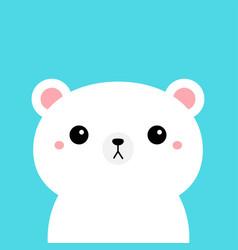 White polar bear cub kawaii cartoon character vector