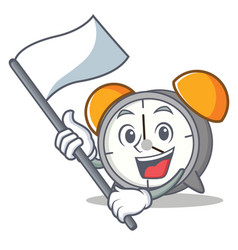 With flag alarm clock mascot cartoon vector