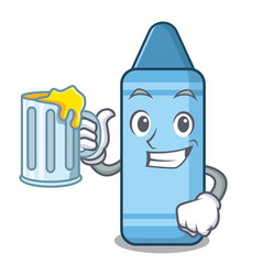 with juice blue crayon in character shape vector image