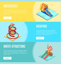 Aqua park water slides isometric flyers set vector