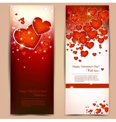 Beautiful greeting cards with red hearts and copy vector image
