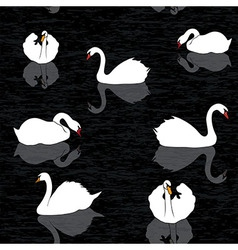 Bird water background swans and lake seamless patt vector image vector image